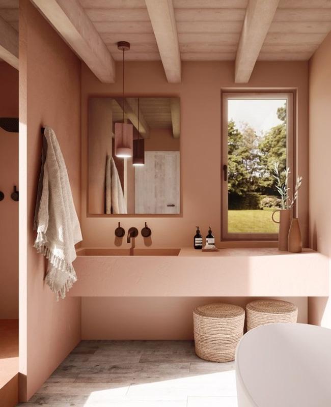 deco salle de bain boheme gris rose