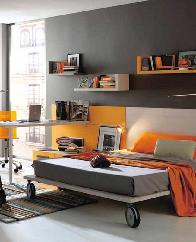 deco chambre ado jaune gris moderne