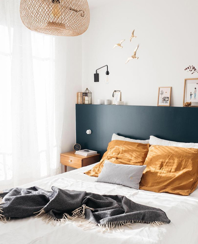 deco chambre bleu canard gris jaune moutarde