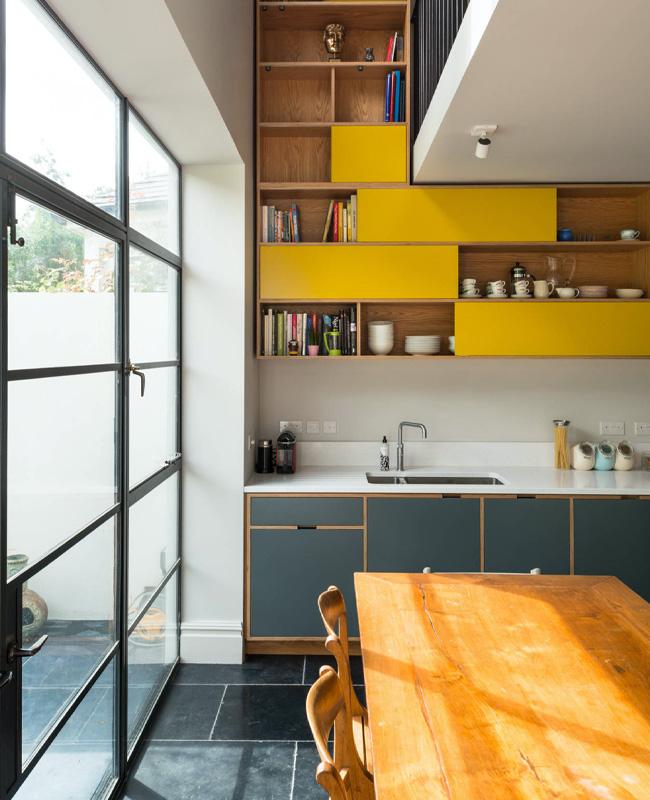 deco cuisine jaune moutarde gris anthracite moderne
