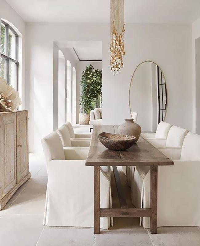 deco salle a manger blanc bois naturelle rustique