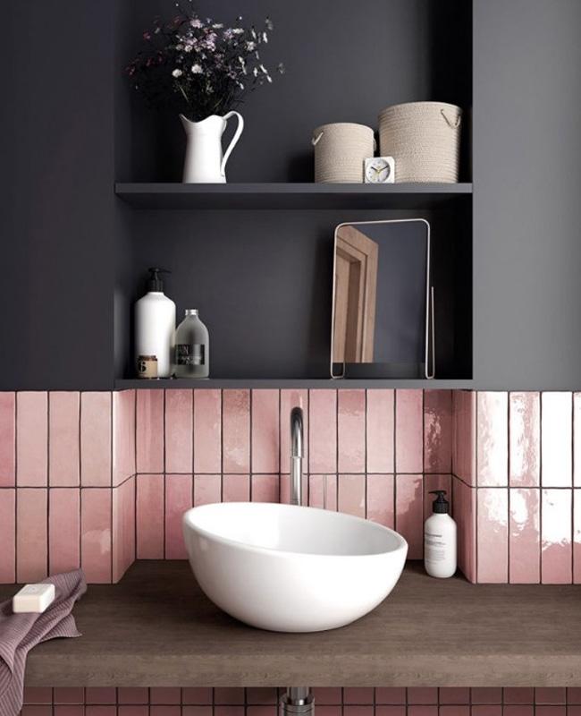 deco salle de bain gris zellige rose