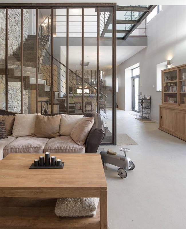 deco salon gris bois campagne moderne