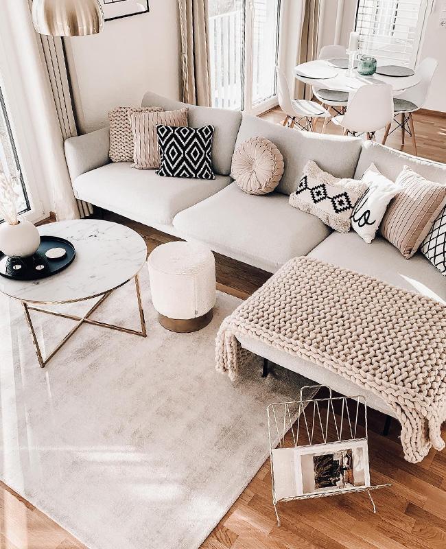 deco salon moderne cosy textiles