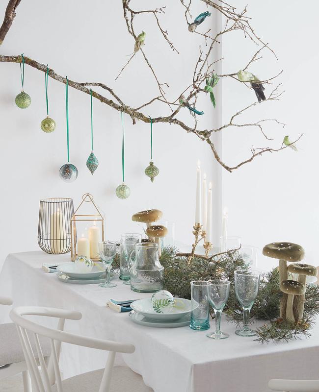 deco table noel vert blanc