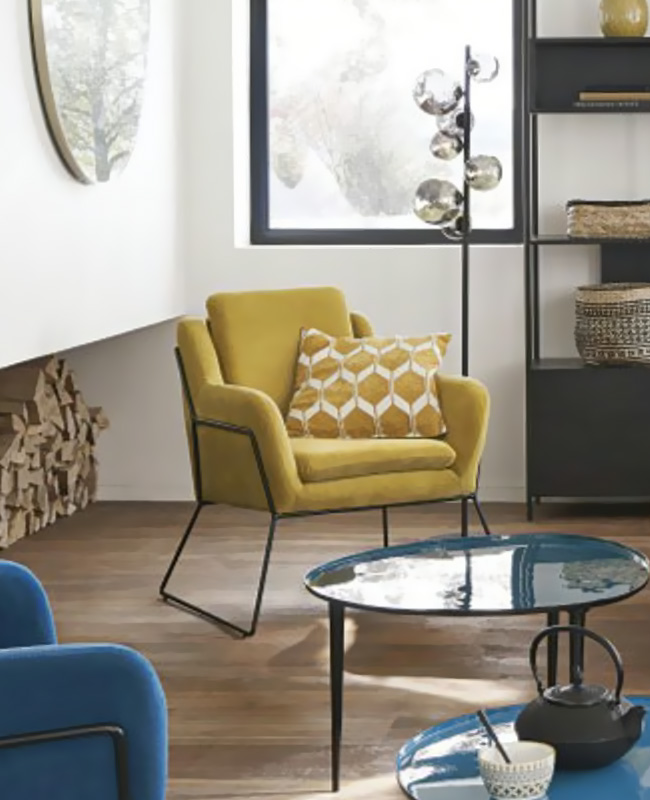 fauteuil velours jaune moutarde moderne