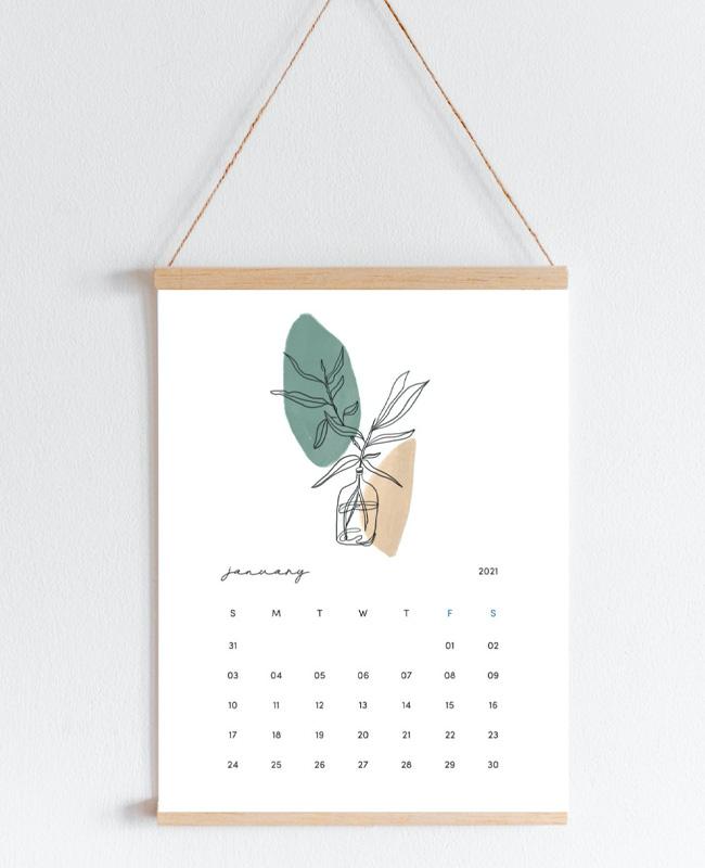 calendrier 2021 a imprimer minimaliste