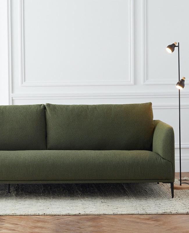 canape bouclette vert kaki