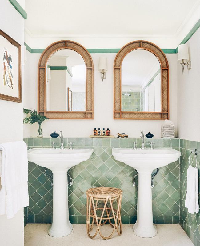 miroir cannage deco salle de bain