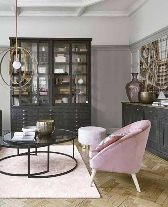 petit fauteuil velours rose