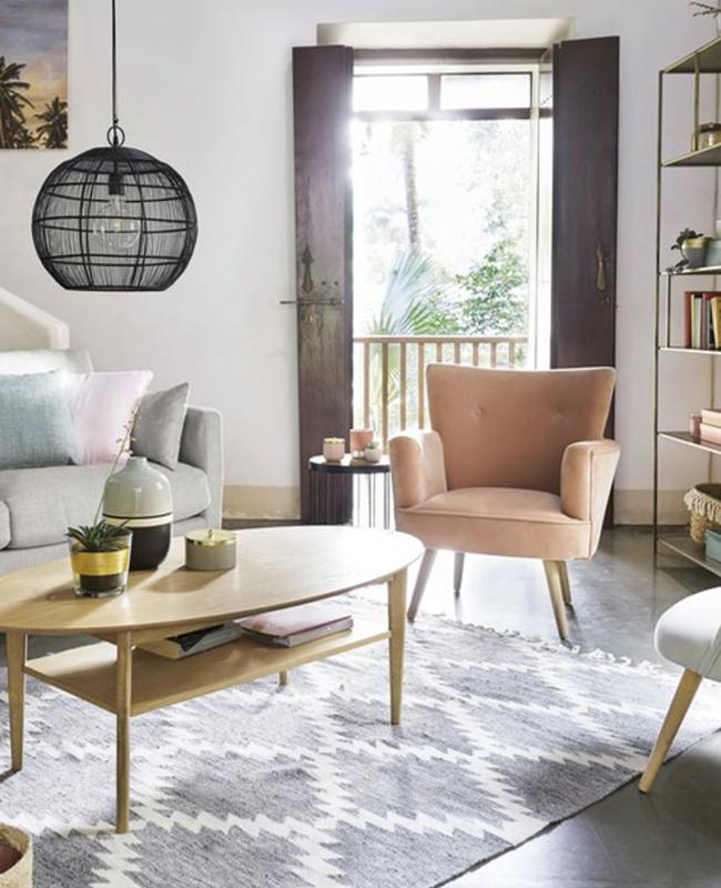 fauteuil scandinave rose vintage