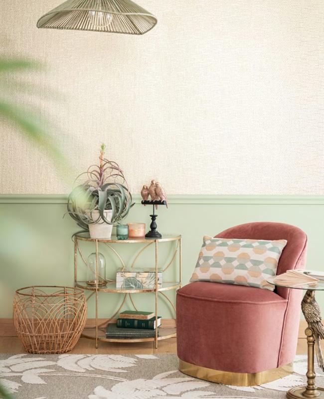 petit fauteuil rose laiton