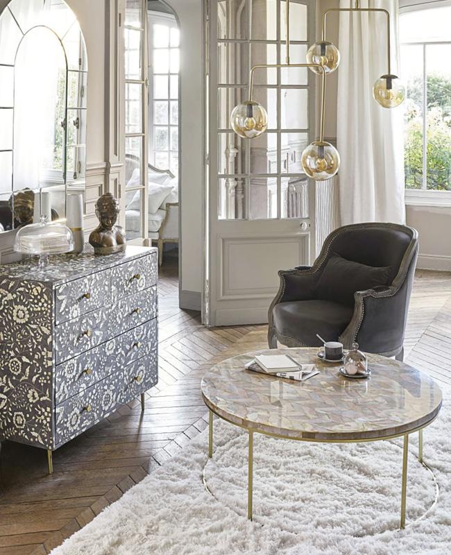 table basse doree pierre ronde