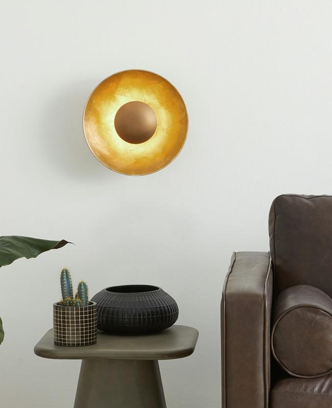 applique murale doree moderne ronde