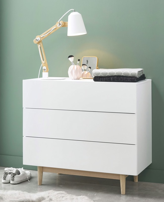 commode scandinave blanc bois