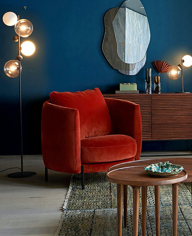 fauteuil moderne velours rouge