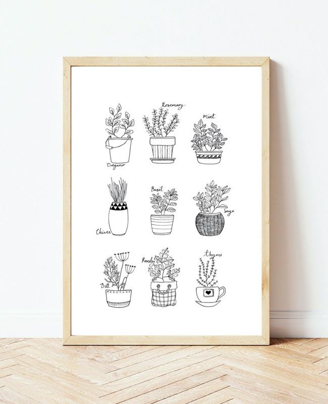 affiche carte vegetale a imprimer aromatique