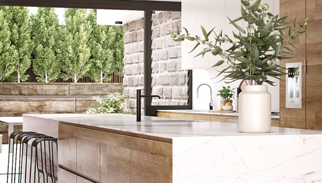 deco cuisine marbre bois