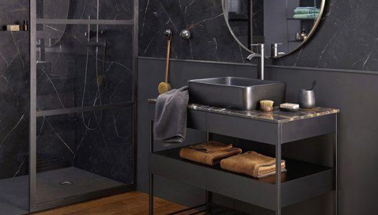deco salle de bain marbre noir