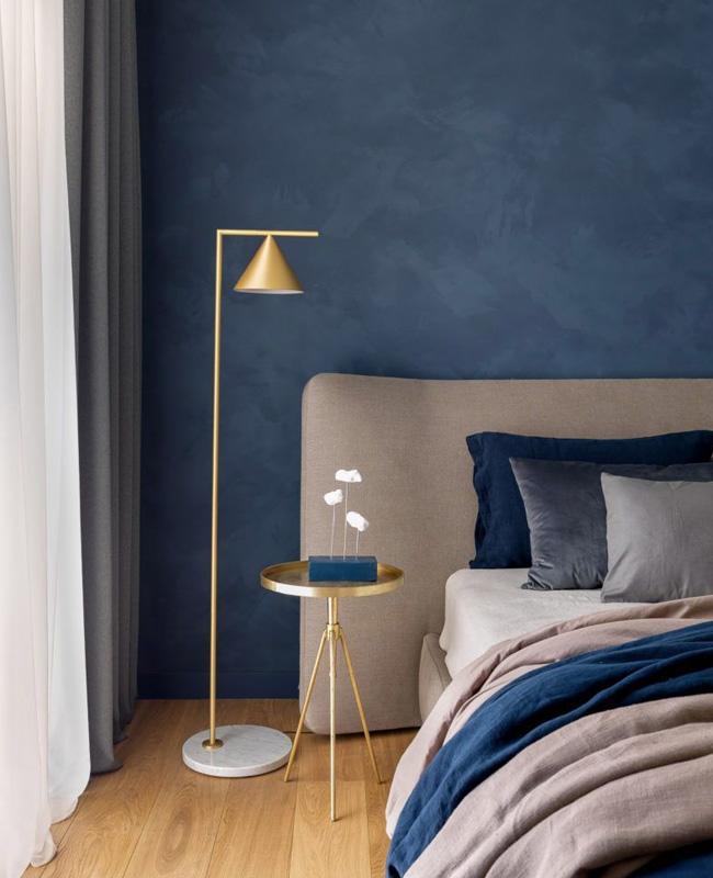 deco chambre moderne chic bleu gris