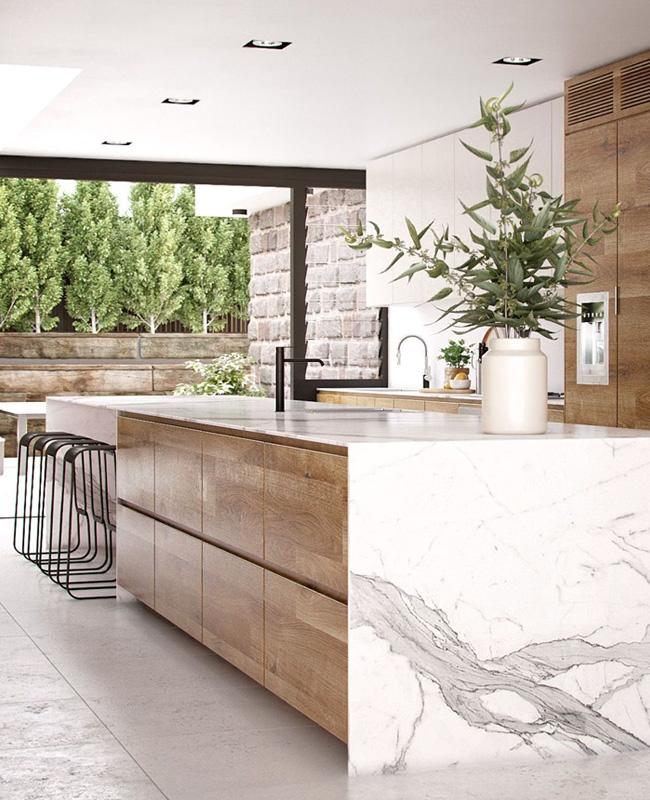 deco cuisine marbre bois nature