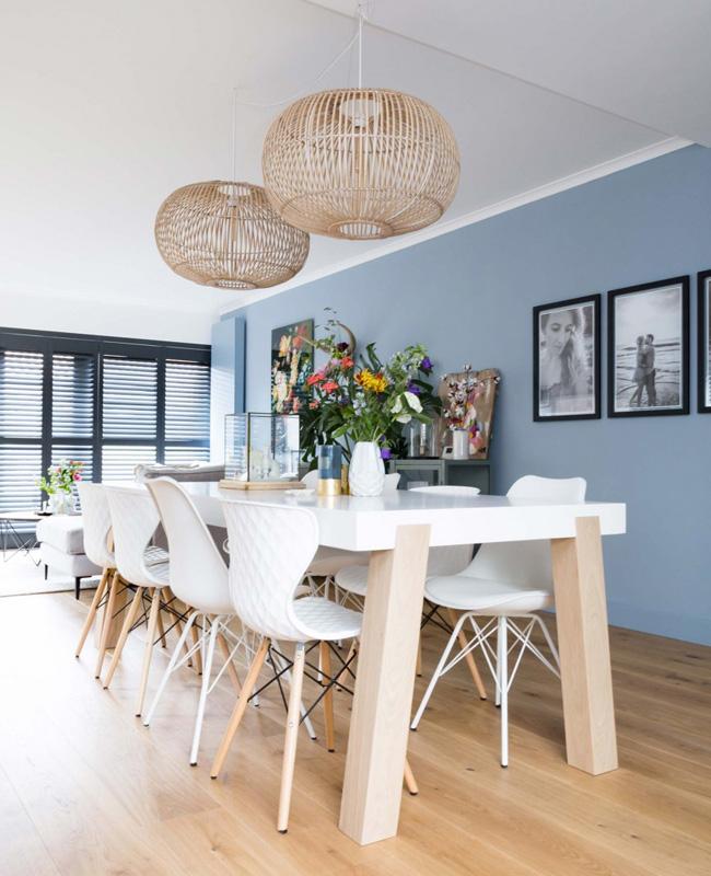 deco salle a manger scandinave moderne bleu