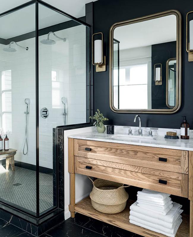 deco salle de bain sol carrelage marbre noir