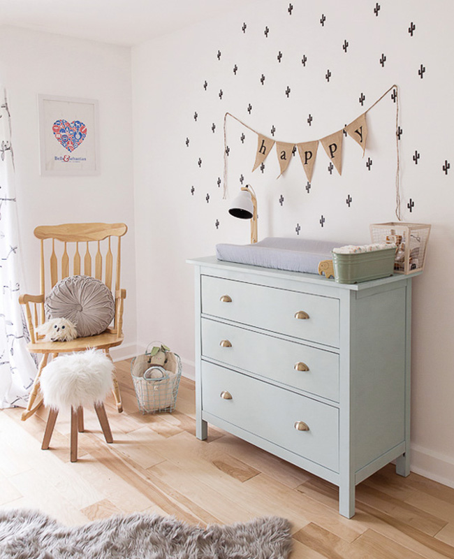 commode vert menthe deco chambre bebe