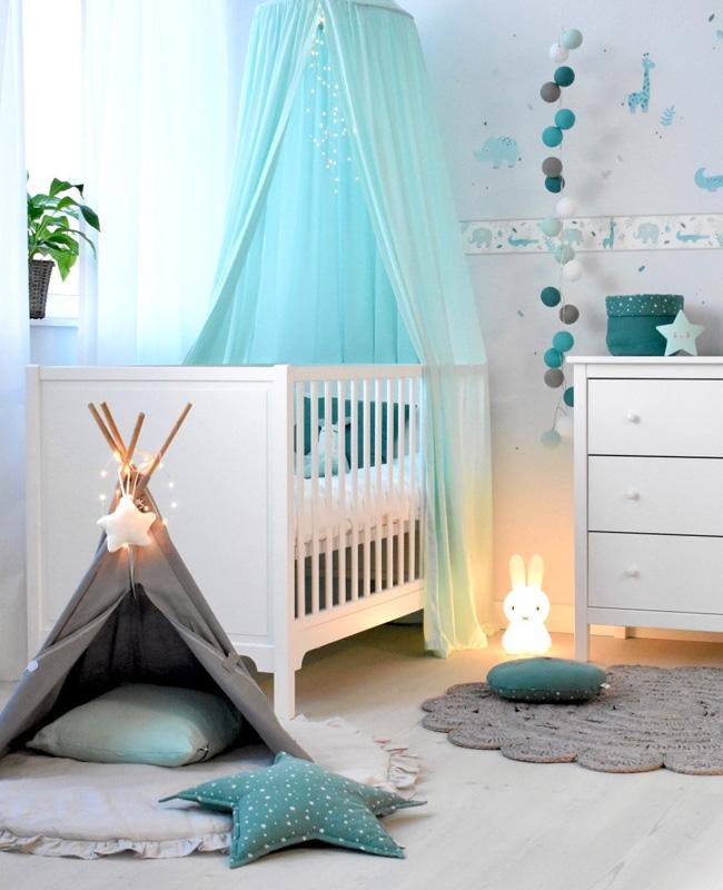 deco chambre bebe gris bleu textile