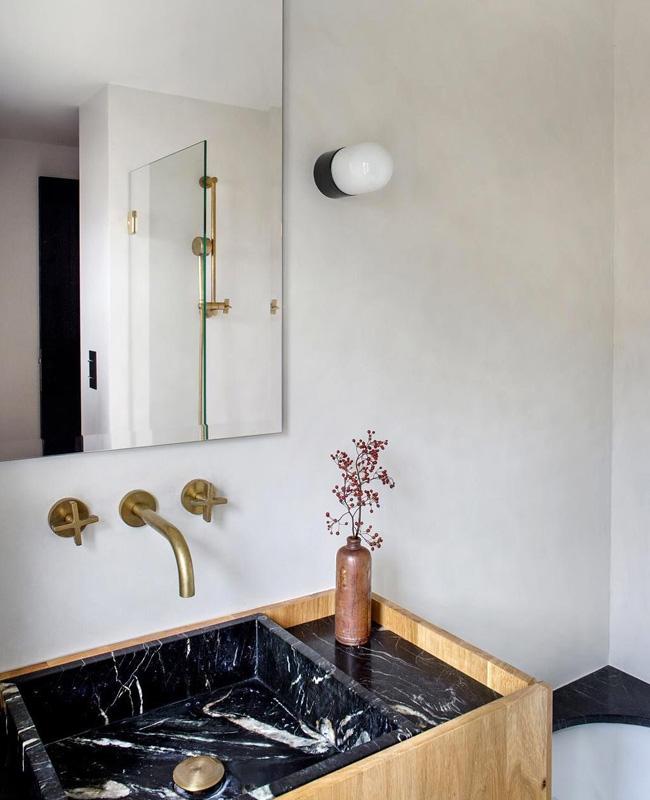 deco salle de bain vasque marbre noir