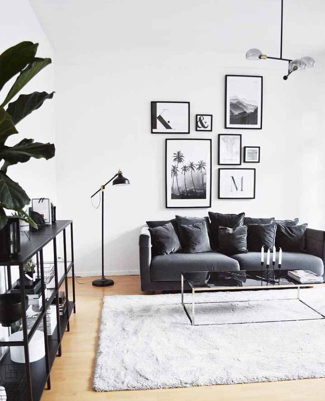 deco salon moderne noir blanc
