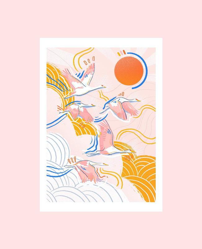 printable affiche illustration japonaise a imprimer oiseau