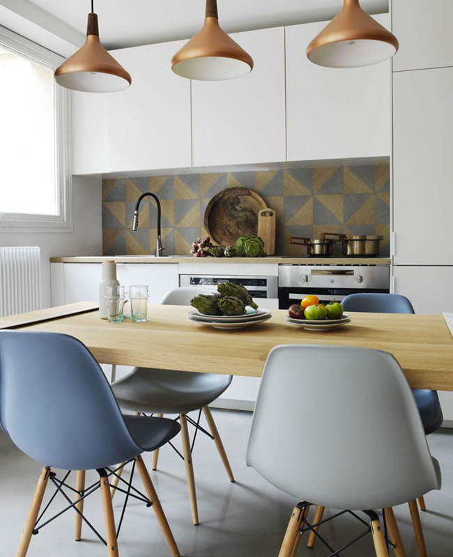 chaise scandinave bleu deco salle a manger