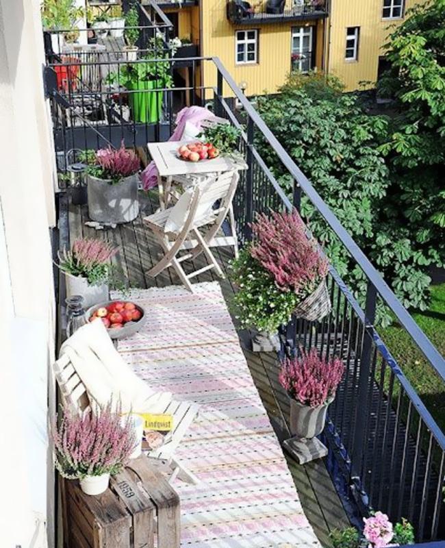 deco balcon tapis rose