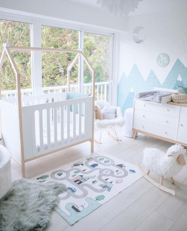 deco chambre bebe gris bleu scandinave