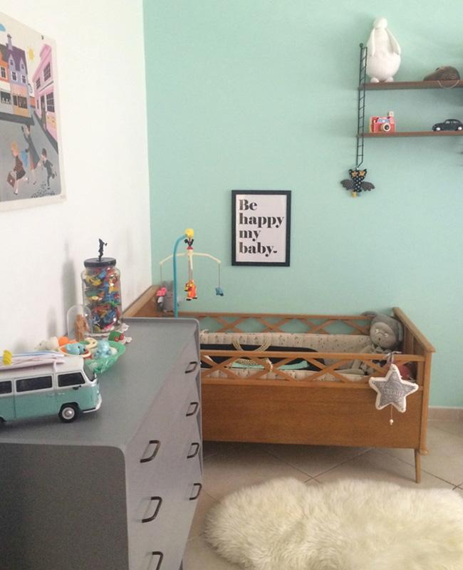 deco chambre bebe vintage vert menthe gris