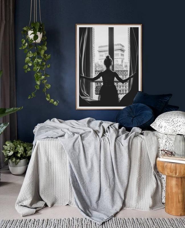 deco chambre bleu fonce gris