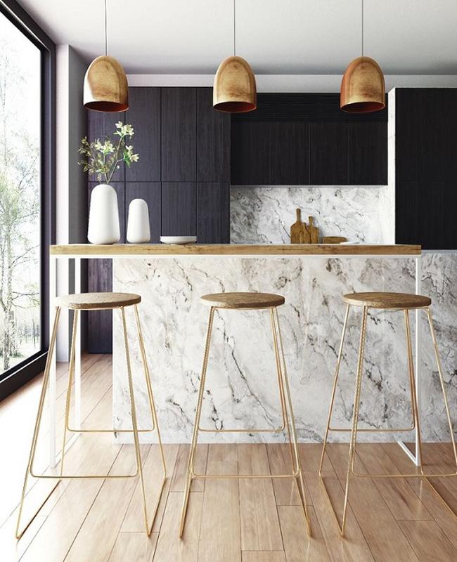 deco cuisine marbre bois dore