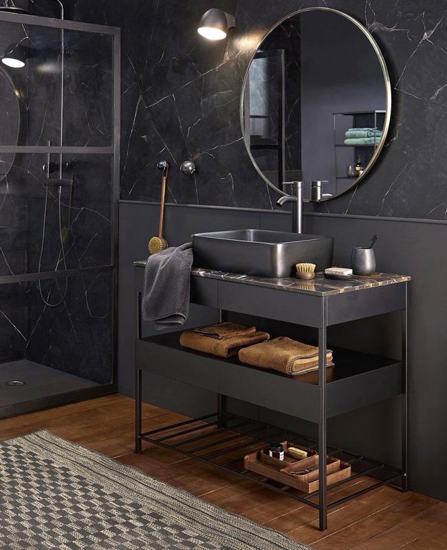 deco salle de bain mur marbre noir