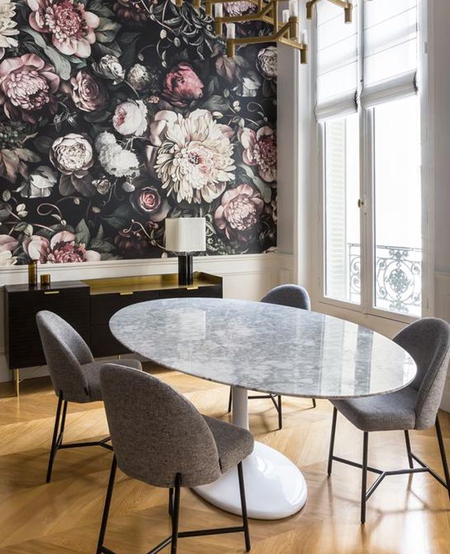 papier peint floral deco salle a manger chic