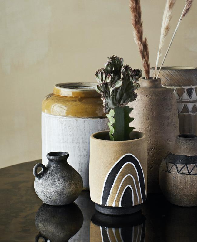 vase poterie artisanale bouteille grise
