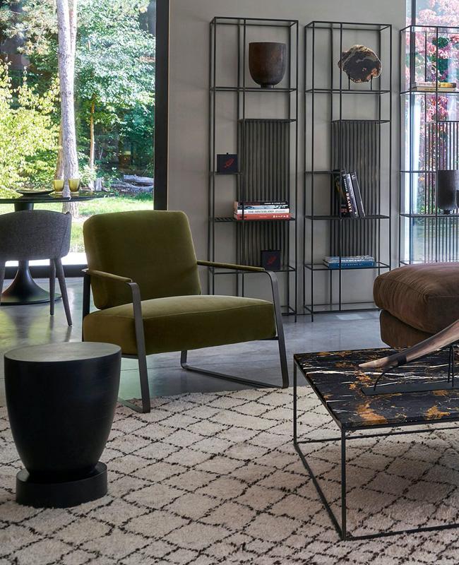 fauteuil moderne vert velours