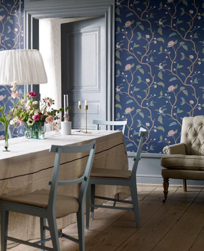 papier peint floral deco salle a manger campagne