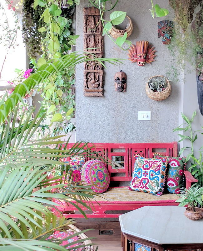 deco balcon rose banc ethnique