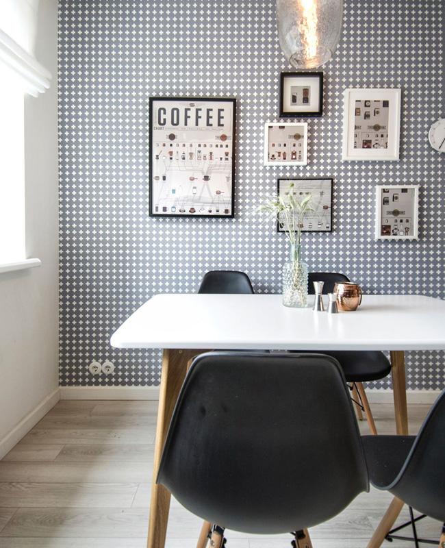 papier peint graphique deco salle a manger scandinave