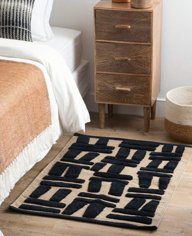 tapis deco murale boheme motifs noir
