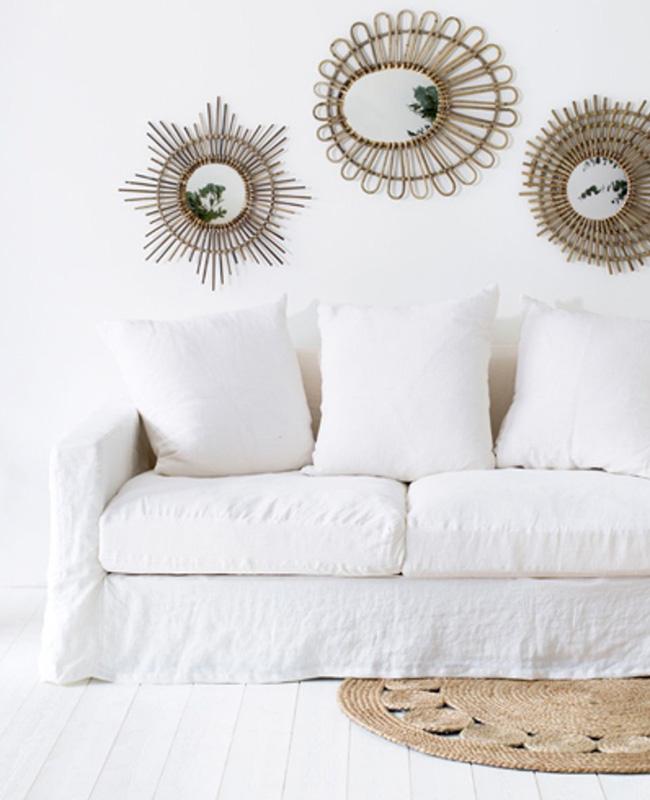 canape lin déhoussable blanc