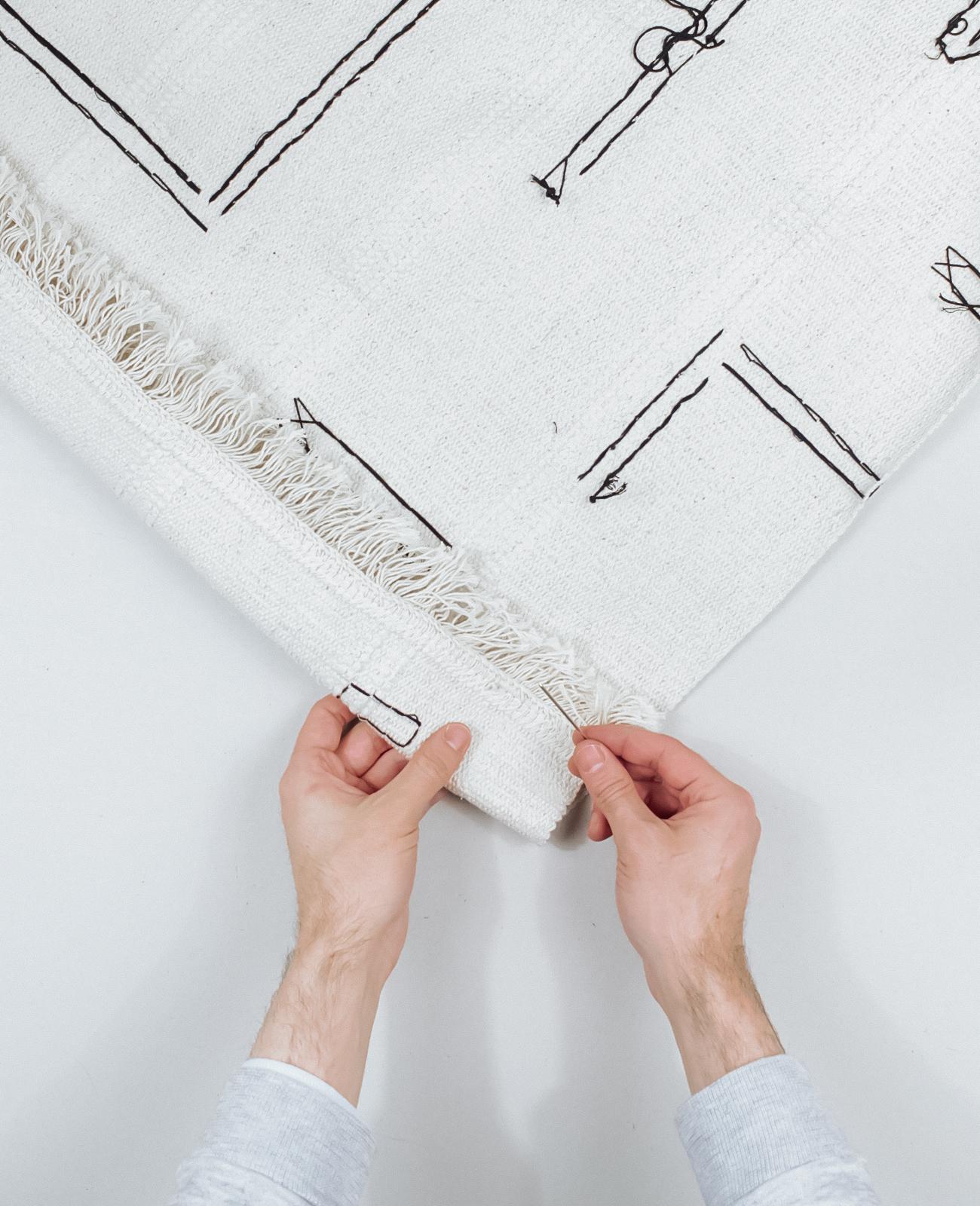 tapis deco murale boheme broderie Ikea Hack tuto dia etape 3