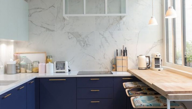deco cuisine marbre blanc
