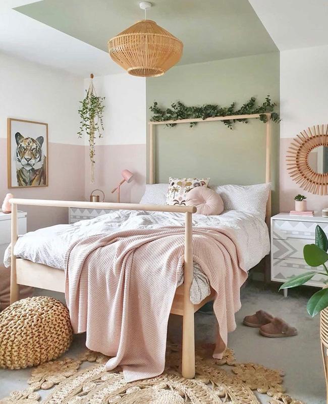 deco chambre ado boheme nature vert rose